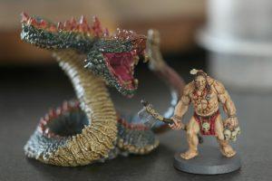 le Serpent géant et un guerrier Picte, en cours de peinture